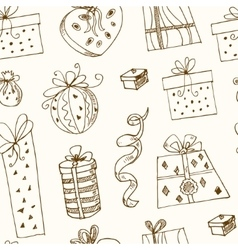 Gift boxes doodle seamless pattern Vintage vector image