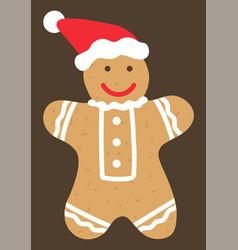 gingerbread man cookie wearing santa claus hat vector image