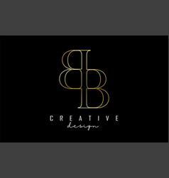 golden bb b letters logo concept with serif font vector image