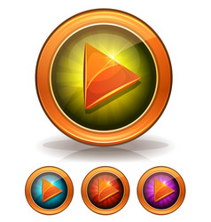 golden play buttons for game ui vector image