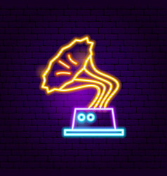 gramophone neon sign vector image