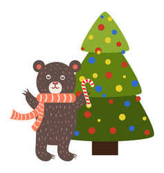 Greeting card cartoon bear with candy stick tree vector
