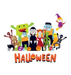 group halloween monster characters vector image
