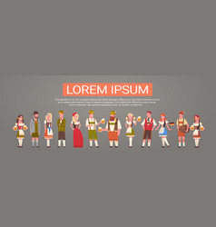 Group of people wearing german traditional clothes vector