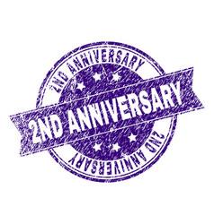Grunge textured 2nd anniversary stamp seal vector