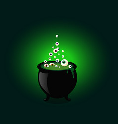 Halloween witch cauldron with bubbling green goo vector