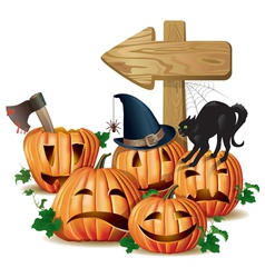 Halloween wooden sign vector