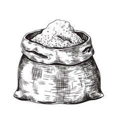 Hand drawn sugar sack black and white sketch vector