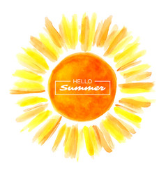 Hand drawn watercolor sun vector
