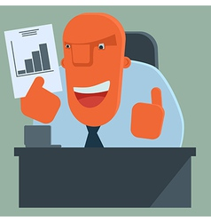 Happy boss is pleased with results vector