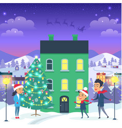 Happy family and fir tree on night city background vector