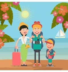 Happy Family on Beach Travel by Airplane vector image