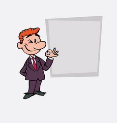 Happy red hair businessman makes the gesture of vector