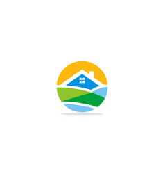 Home realty landscape logo vector