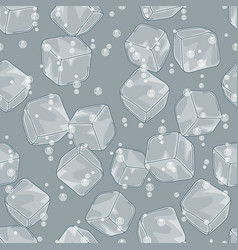 ice cubes and soda bubbles seamless pattern vector image