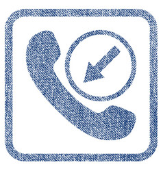 incoming call fabric textured icon vector image