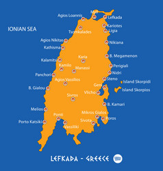 Island of lefkada in greece orange map and blue vector
