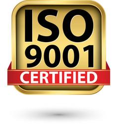 iso 9001 certified golden label vector image