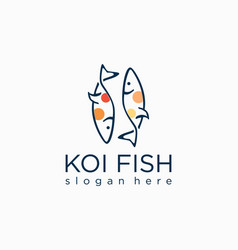 Japanese minimalist koi fish logo line art outline vector