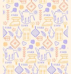 Kitchen pattern flat vector