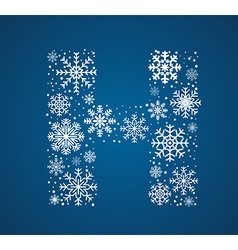 Letter H font frosty snowflakes vector