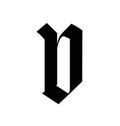 Letter v in gothic style alphabet symbol vector