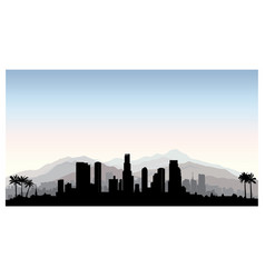 los angeles usa skyline city silhouette vector image