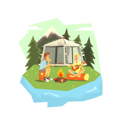 male tourists camping two men sitting near vector image