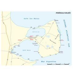 Map peninsula valdes chubut argentina vector