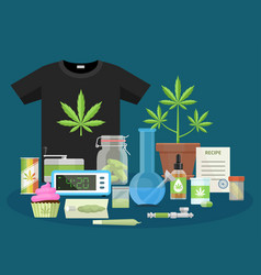 Marijuana and smoking equipment flat icons vector