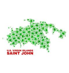 Marijuana leaves mosaic saint john island map vector