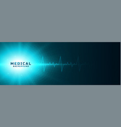 Medical concept glowing banner with heartbeat line vector