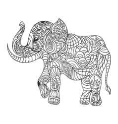Monochrome hand drawn zentagle of an elephant vector