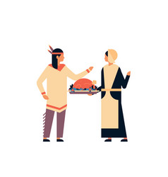 native american indian couple celebrating vector image