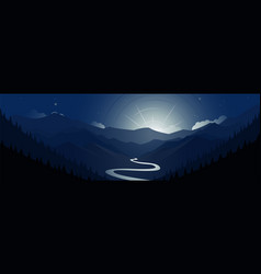 Night valley mountains and moon scene panoramic vector