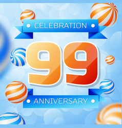 Ninety nine years anniversary celebration design vector