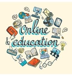 Online education icon sketch vector