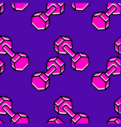 pink dumbbells seamless pattern sport concept sign vector image