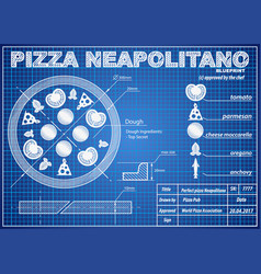 Pizza neapolitano ingredients blueprint scheme vector