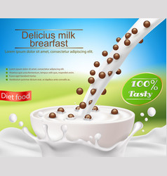Realistic poster with a milk splash and vector