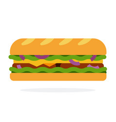 Sandwich with salad onion bacon vector