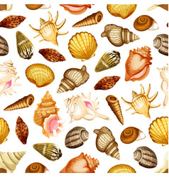 Sea shell seamless pattern with marine mollusk vector