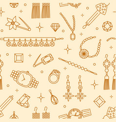 seamless pattern with elegant jewelry items drawn vector image