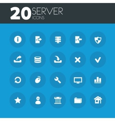 Server icons on round blue buttons vector image