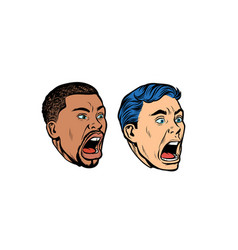 Set collection head caucasian and african man vector