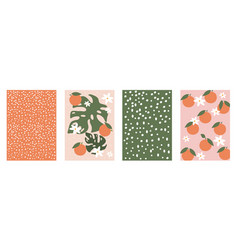 set cute contemporary orange floral and polka vector image