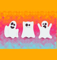 set cute halloween ghost happy halloween card vector image