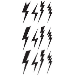 Set icons of different lightning vector