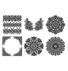 set of original hand draw line art ornate flower vector image