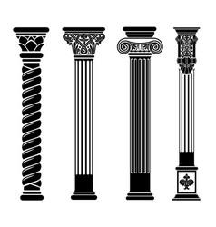 Set silhouettes classic vintage capitals vector